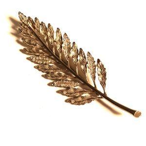 Vintage Feather Rhinestone Brooch